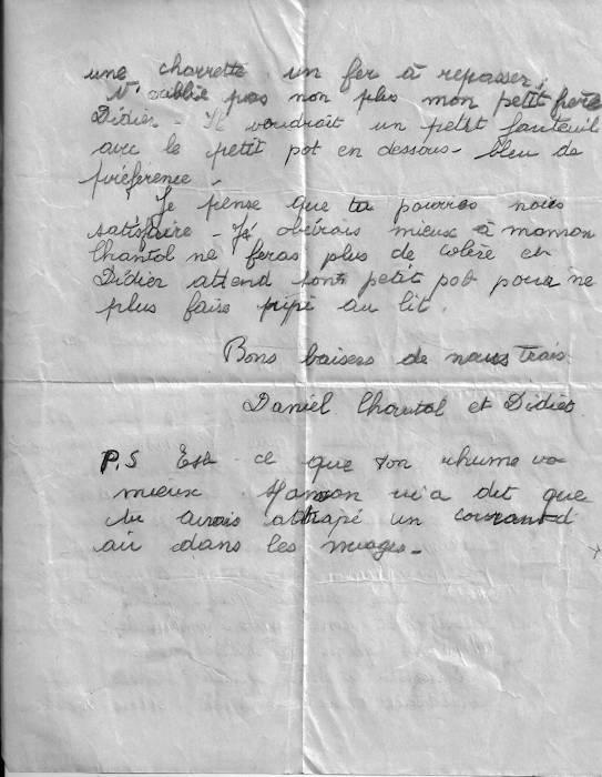 Baron - Lettre au Père Noël 16 décembre 1948.